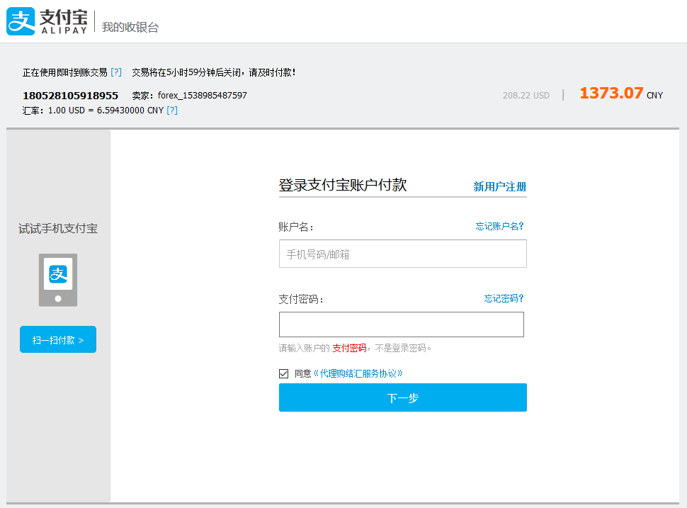 Alipay Cross-border login form
